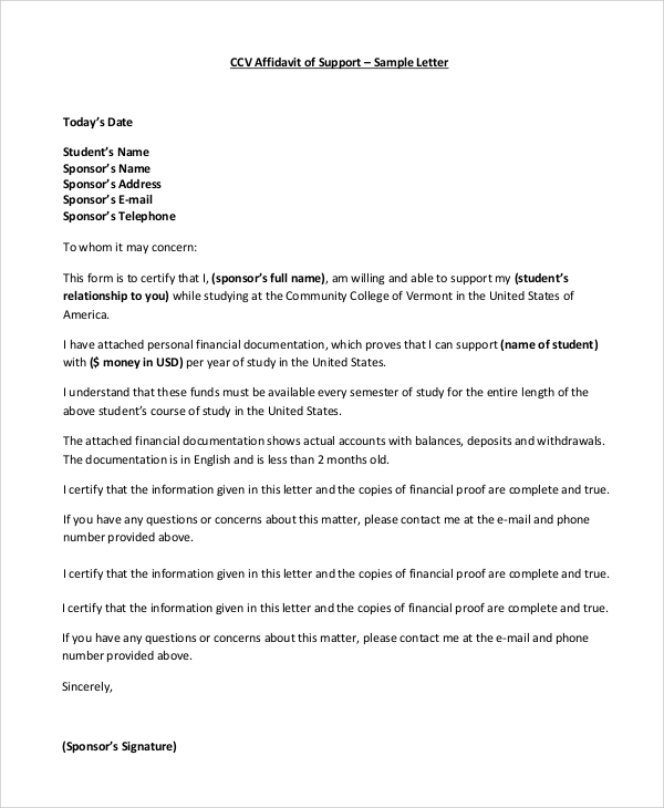 affidavit of support sample letter 8 affidavit of support samples sample templates 1072