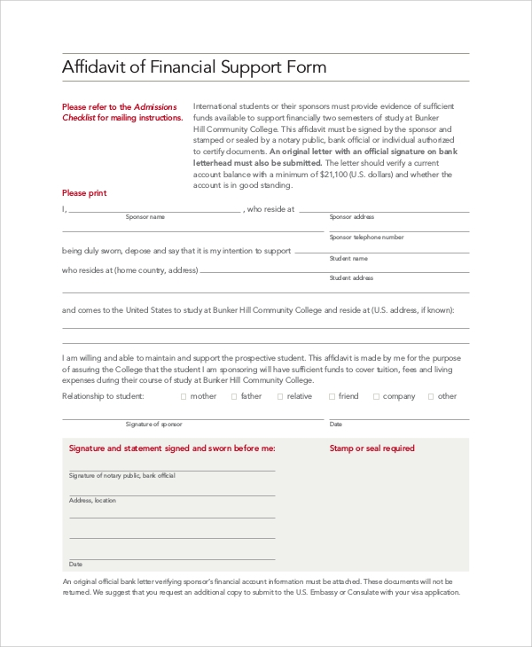 Sample Affidavit Of Support   Examples In Pdf