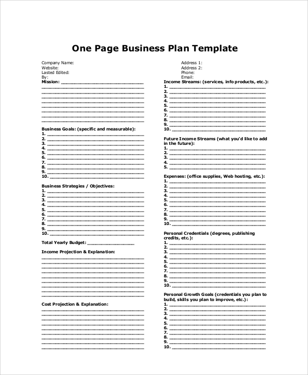 One Page Business Plan Sample