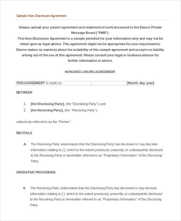 Sample NonDisclosure Agreement   Examples In Pdf