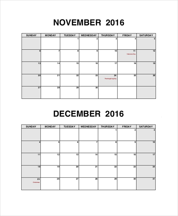 Sample Printable Calendar   Examples In Pdf Word
