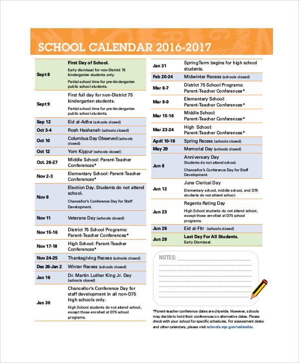 Sample Printable Calendar 8 Examples in PDF Word – Sample School Calendar