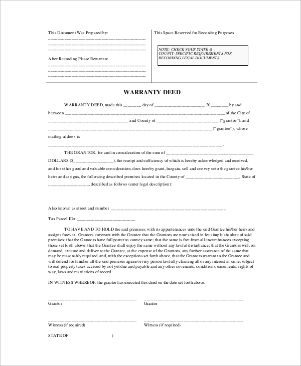 Sample Warranty Deed Form 8 Examples in PDF – General Warranty Deed