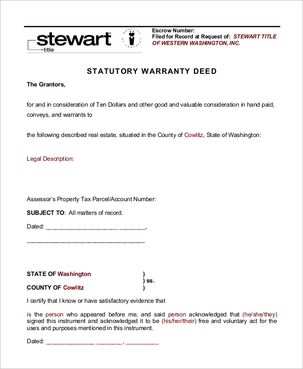 Warranty Deed Statutory Form