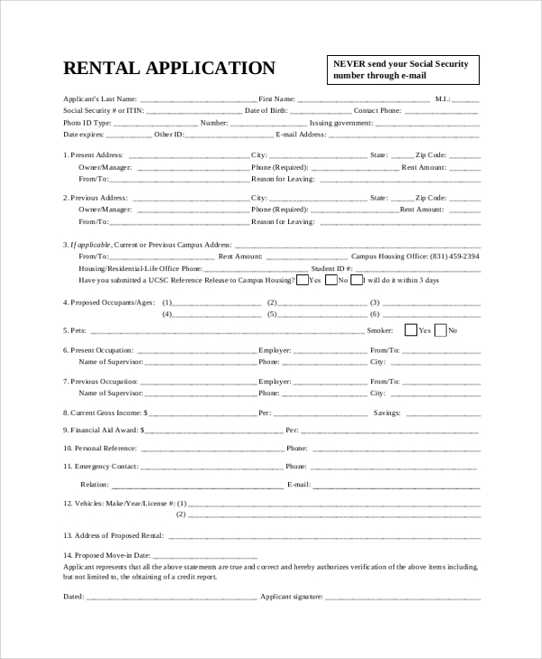 8 sample rental applications sample templates for Housing rental application template