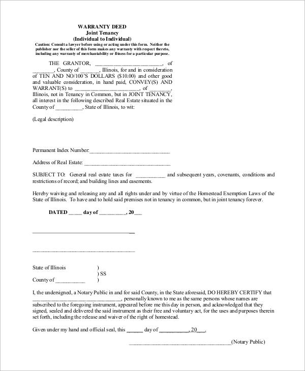 tenancy warranty deed