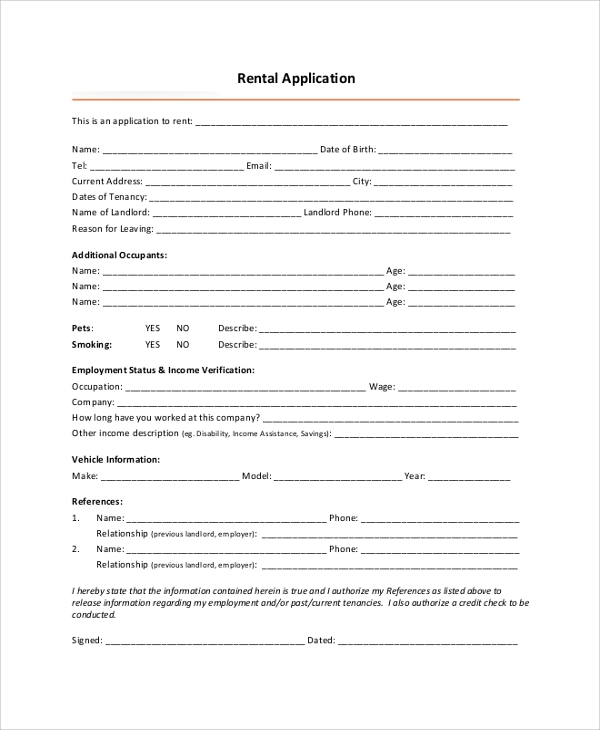 Standard-Rental-Application Legal Employment Application Form on namibia government, free printable blank, mra examples, free construction, dental assistant,