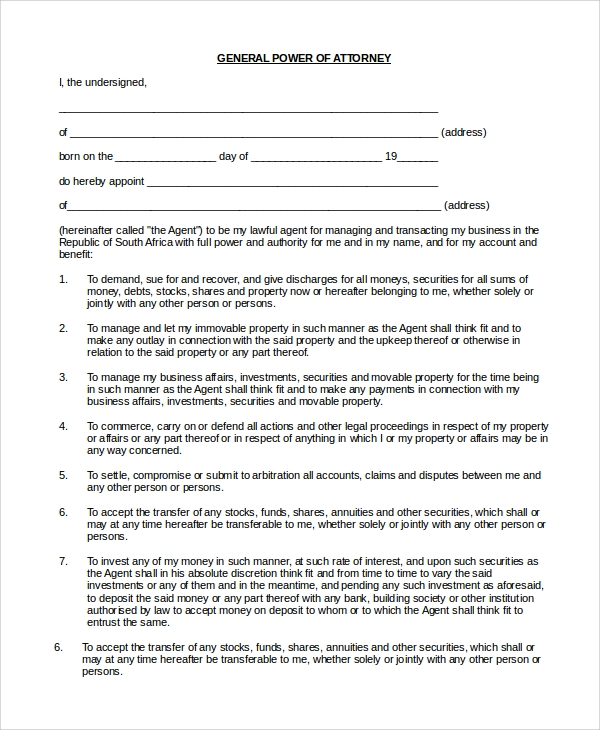 Sample Power Of Attorney Form - 9+ Examples In Pdf, Word