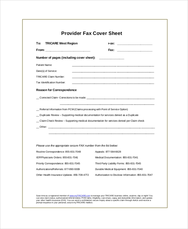 provider fax cover sheet