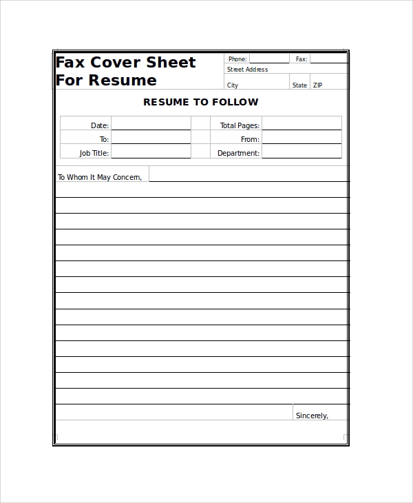 Sample Fax Cover Sheet 9 Examples in PDF Word – Resume Fax Cover Sheet