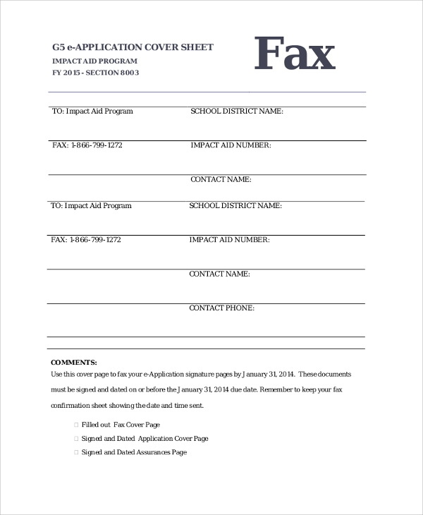 application fax cover sheet