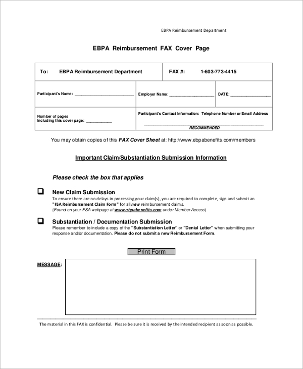 reimbursement fax cover sheet