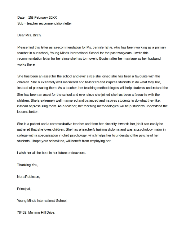 Sample Letter of Recommendation For a Teacher