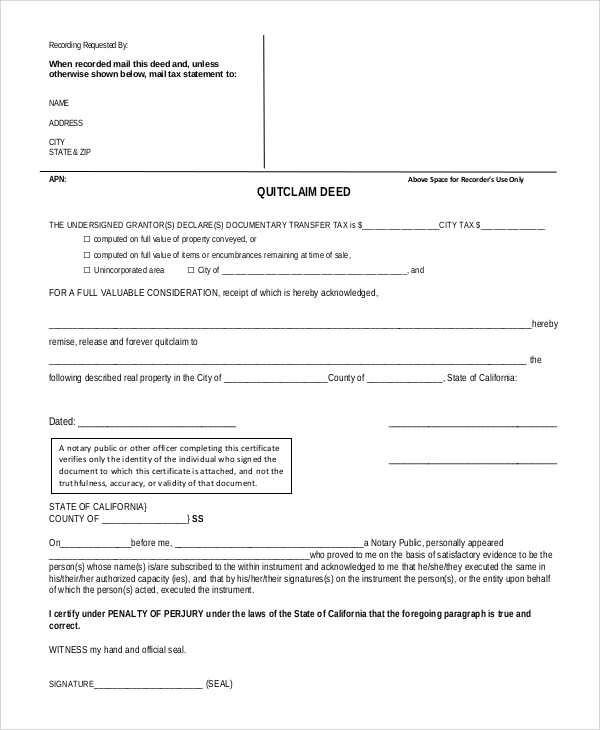 Sample Quick Claim Deed   Examples In Pdf Word