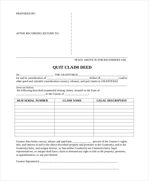 blank quit claim deed