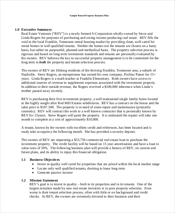 Sample Business Plan - 9+ Examples In Pdf, Word