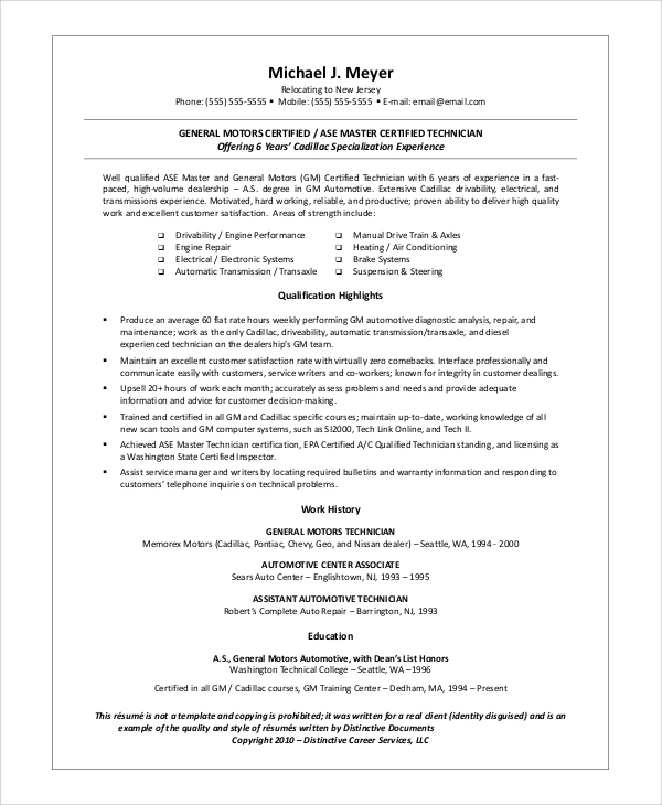 sample automotive technician resume example