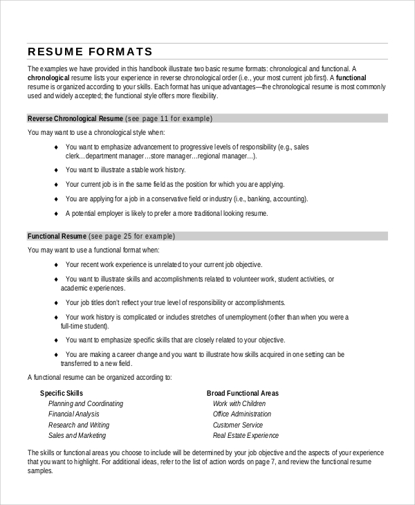 sample resume format example