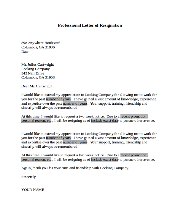 Sample Letter Of Resignation   Examples In Pdf Word