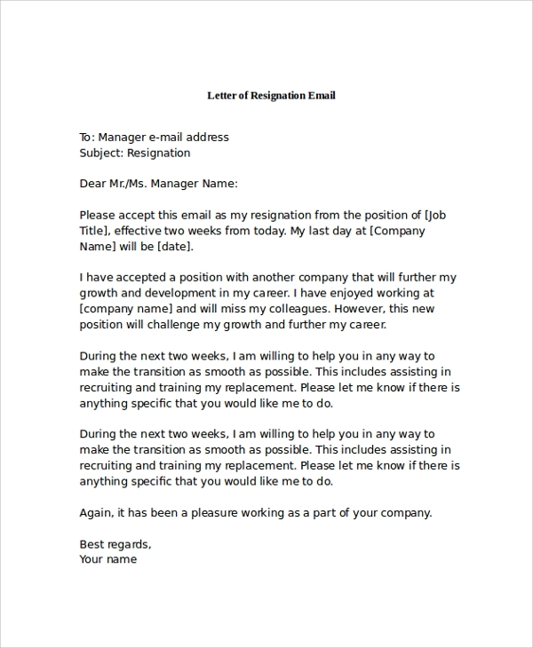17  letter of resignation samples  u2013 pdf  word  apple pages