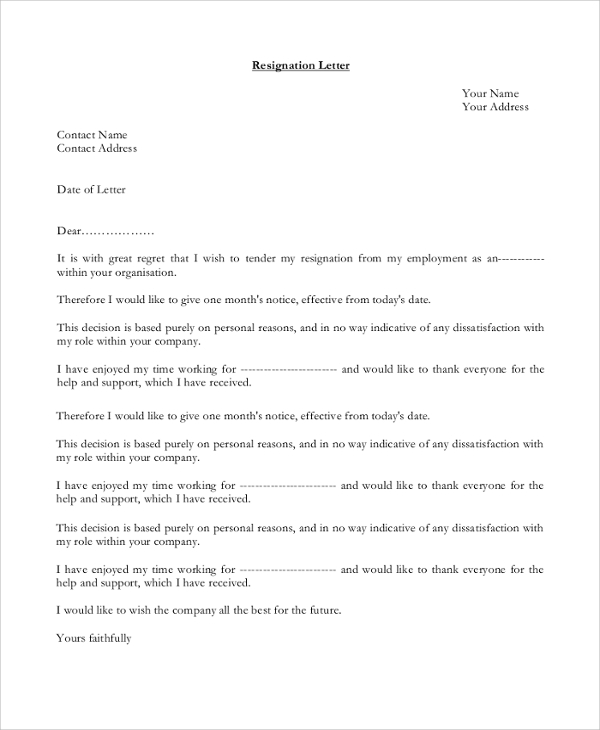 Sample Letter Of Resignation - 9+ Examples In Pdf, Word