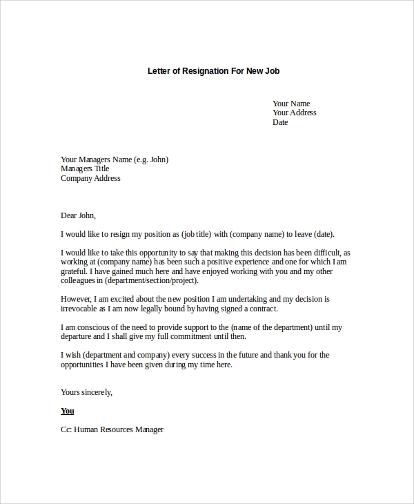 Sample letter of resignation 9 examples in pdf word sample letter of resignation for new job expocarfo