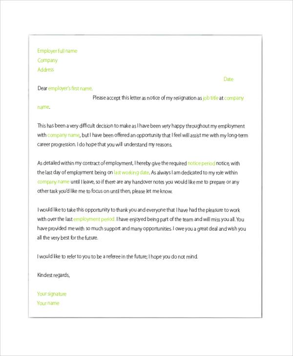 letter of recruitment resignation
