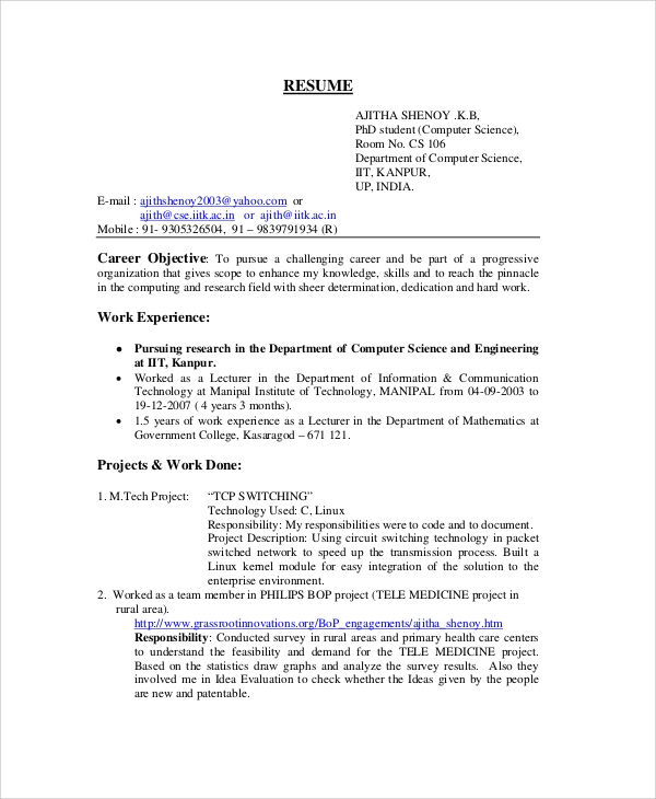 lecturer resume example