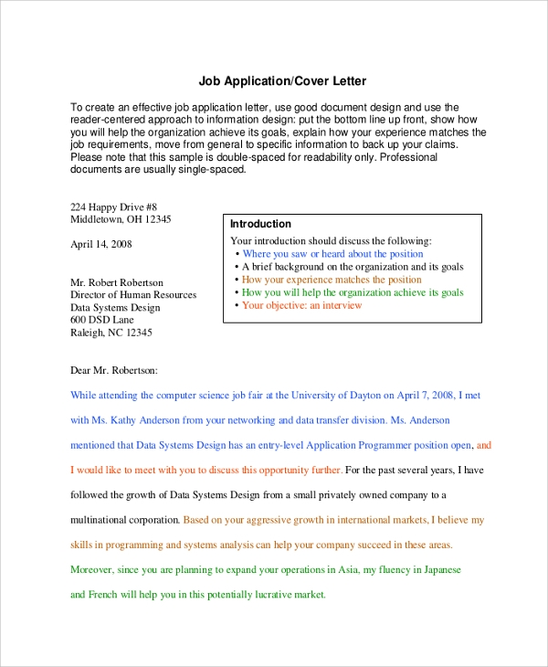 job application cover letter sample. Resume Example. Resume CV Cover Letter