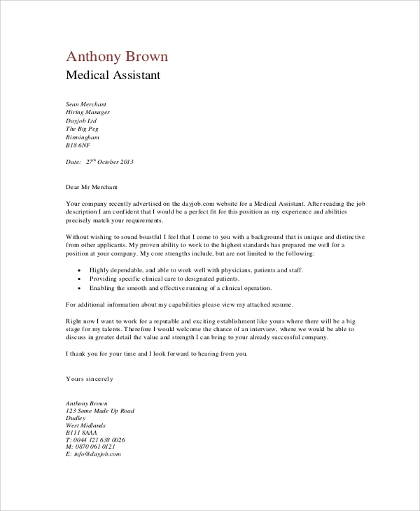 Medical Assistant Cover Letter Sample  Sample Cover Letter For Medical Assistant