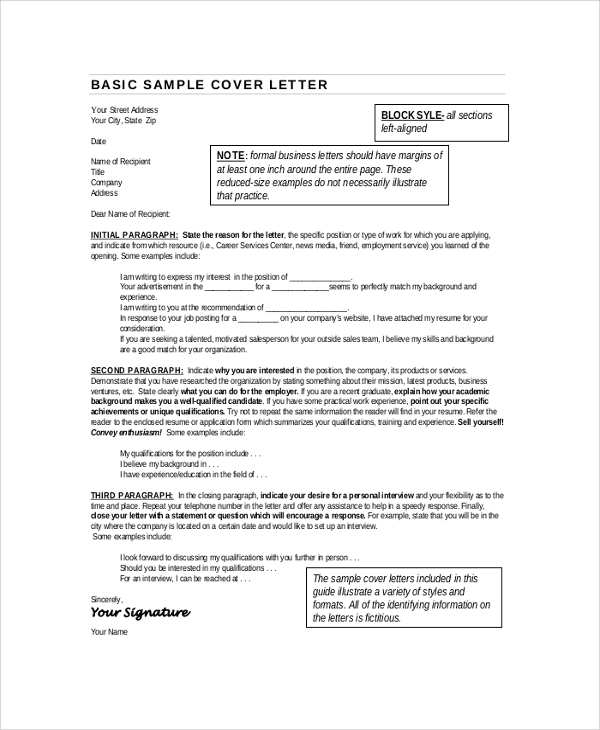 sample cover letter format