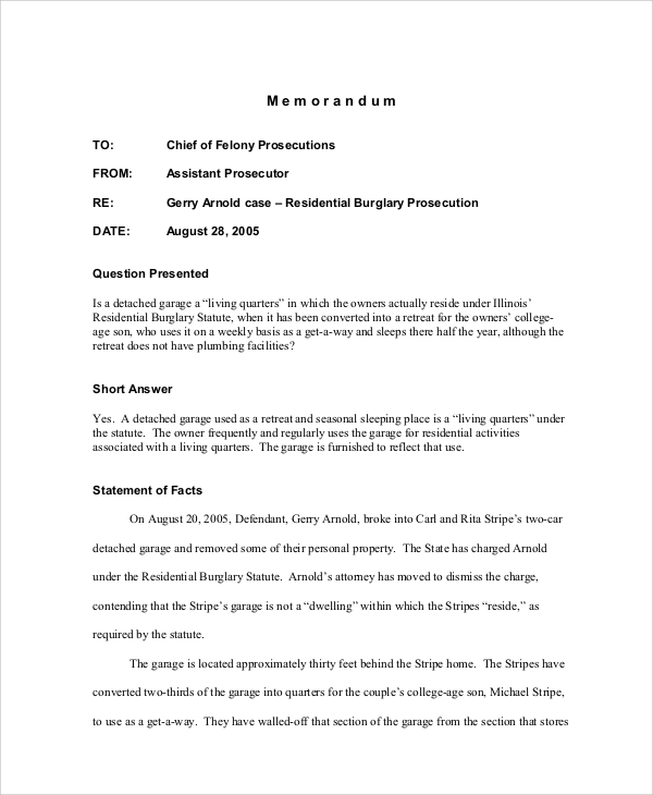 Sample Memo   Examples In Pdf