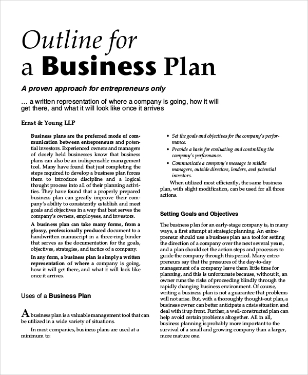 business plan outline Anatomy of a business plan: outline © 2015 linda pinson 1 write a winning business plan based on anatomy of a business plan & automate your business plan © 2015 linda pinson.
