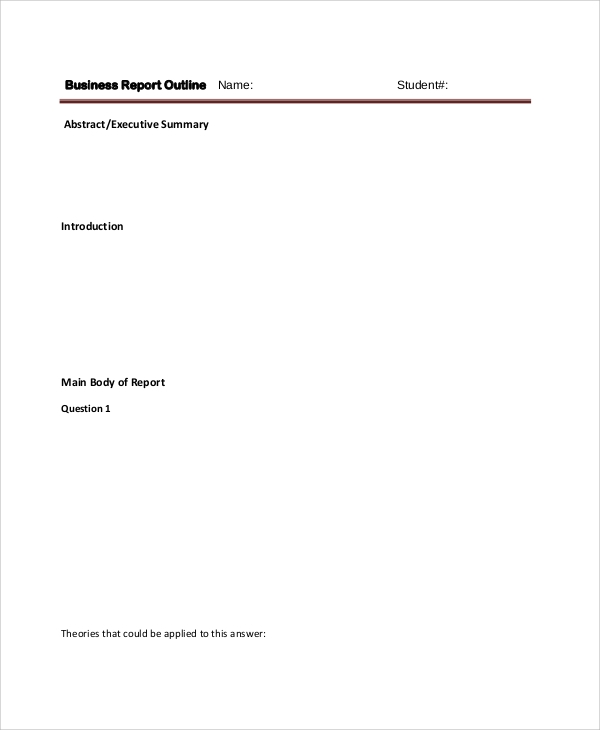 business report outline sample