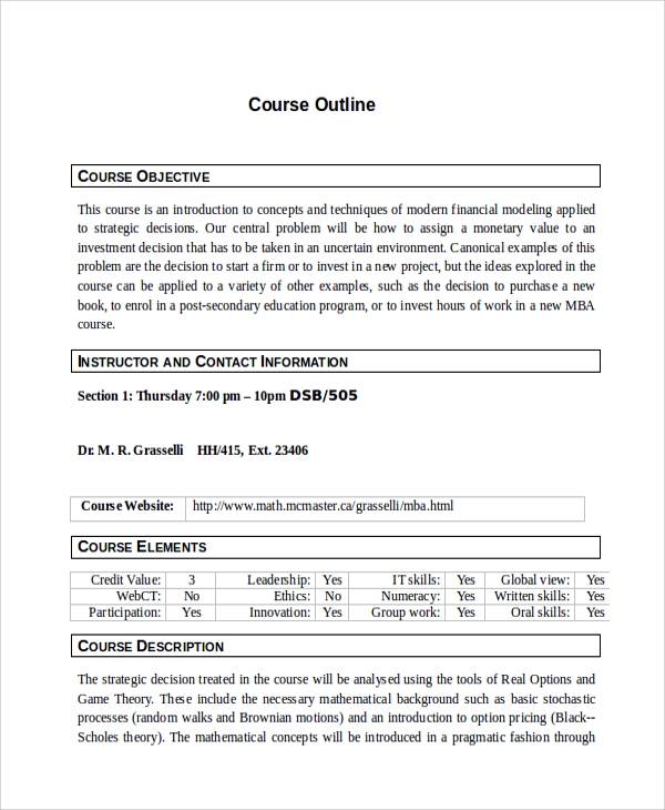 course outline sample