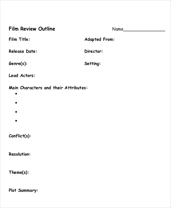 sample outline examples in pdf word ppt film review outline sample