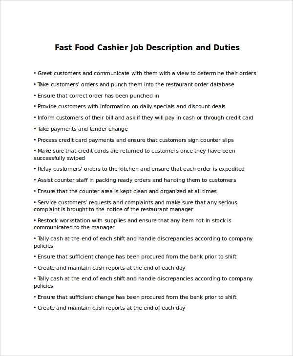 sample cashier job description