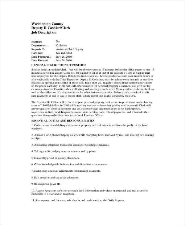 Pharmacy Clerk Job Description | Template