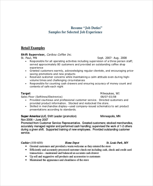 Sample Cashier Job Description   Examples In Pdf Word
