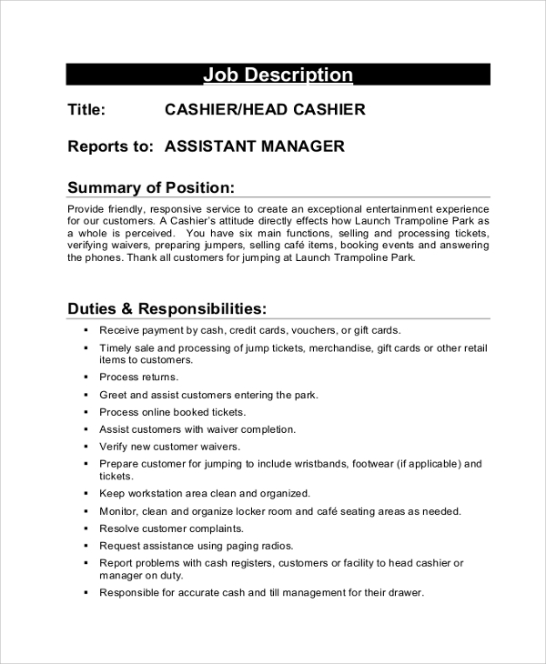 duties of cashier for resumes