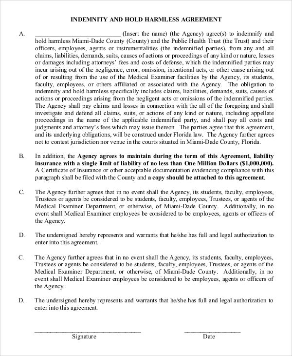 Sample Hold Harmless Agreement 9 Examples in PDF Word – Indemnity Template