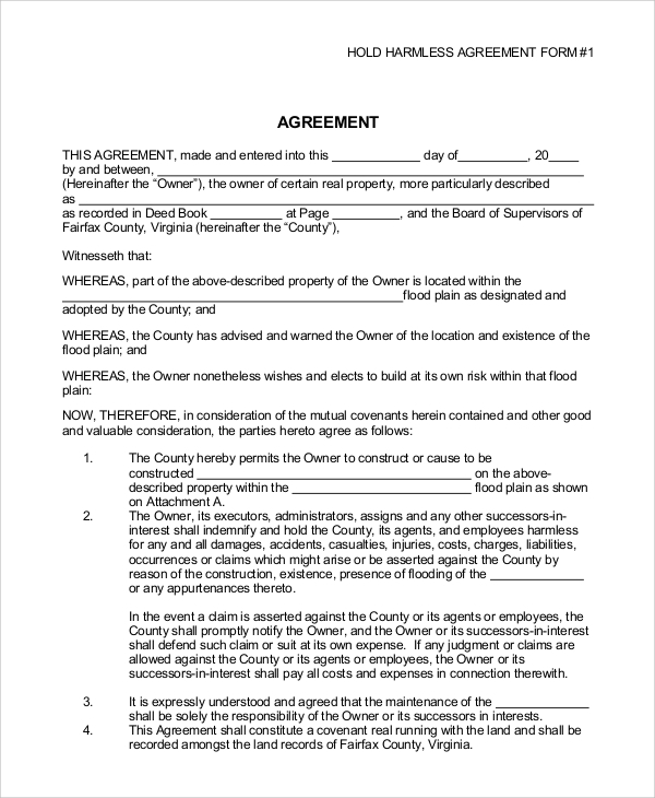 10 Sample Hold Harmless Agreements Pdf Word