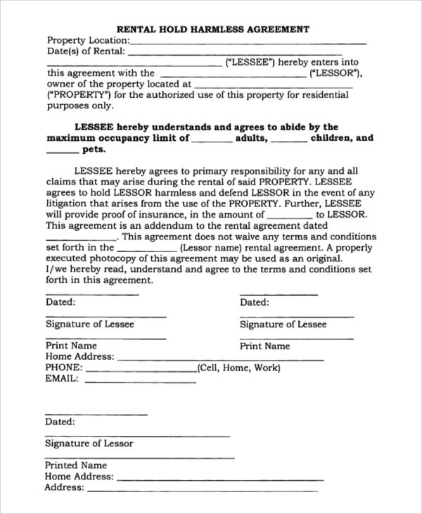 rental hold harmless agreement