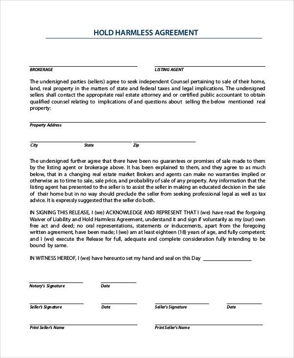 9 Sample Hold Harmless Agreements Pdf Word Sample Templates