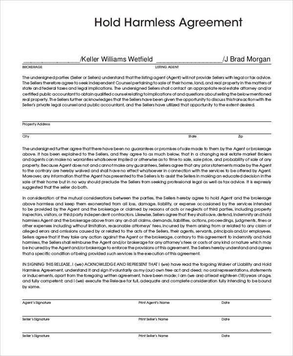 Sample Hold Harmless Agreement   Examples In Pdf Word