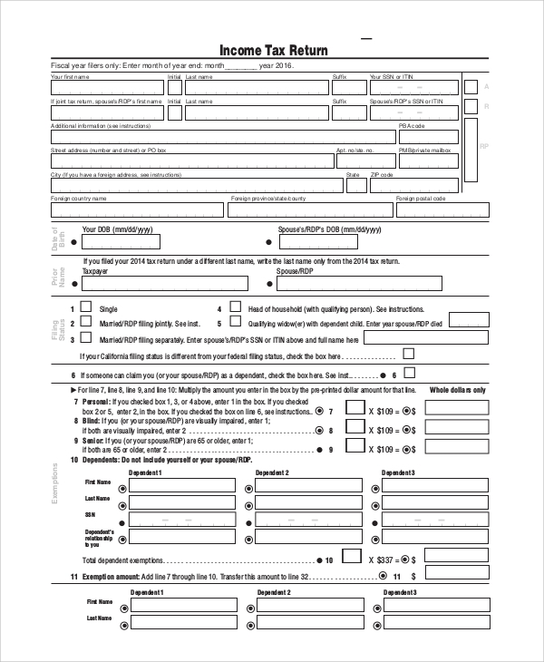 federal tax return form