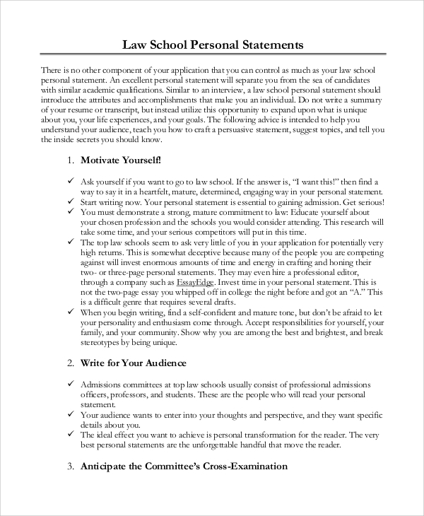 Sample Personal Statement - 8+ Examples In Pdf