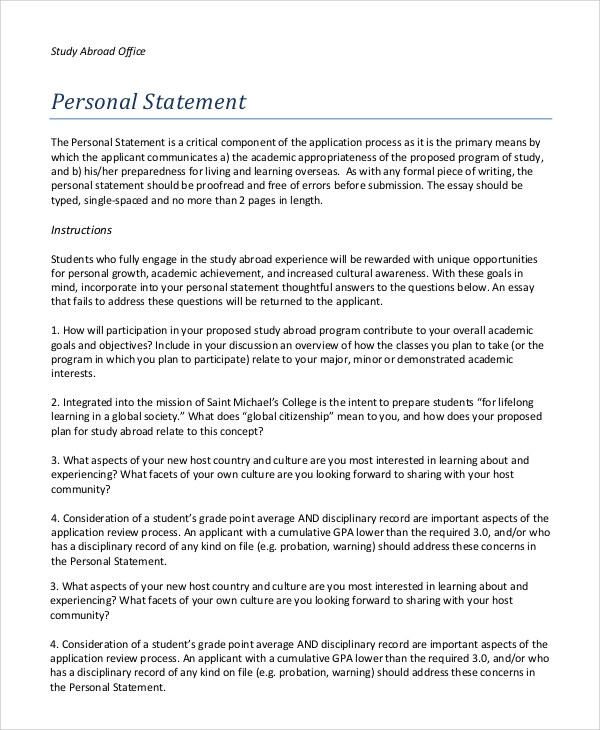Sample Personal Statement   Examples In Pdf