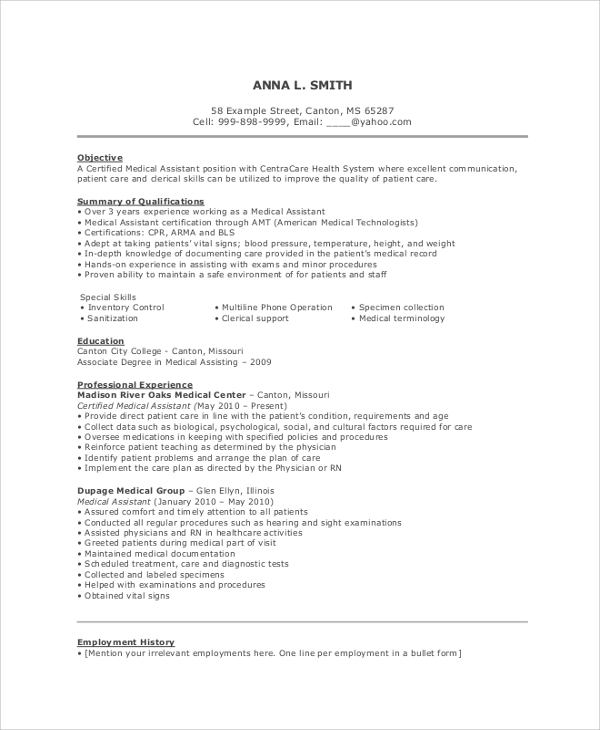 medical assistant resume objective - Certified Medical Assistant Resume