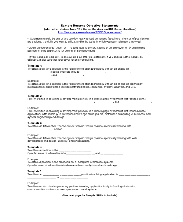 Sample Resume Objective   Examples In Pdf Word